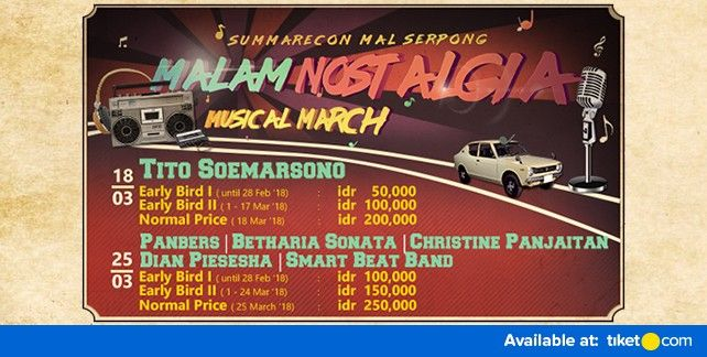 harga tiket Malam Nostalgia Musical March 2018
